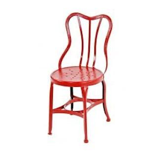 """c. 1910-16 vintage american """"uhl art steel"""" red enameled pressed heavy"""