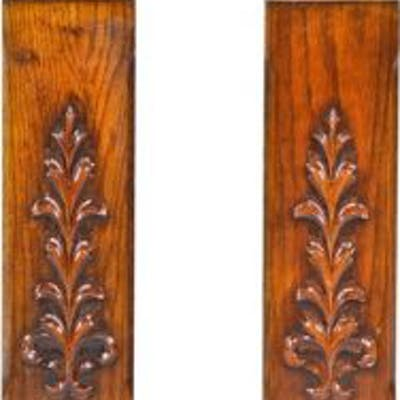 pair of matching late 19th century varnished oak wood interior colonnade
