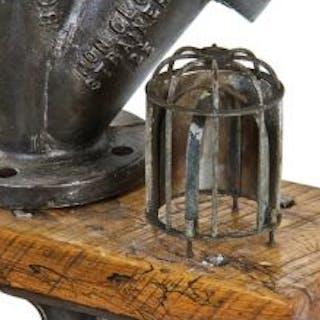 "c. 1920's american antique industrial reinforced bent bronze rod ""trouble"