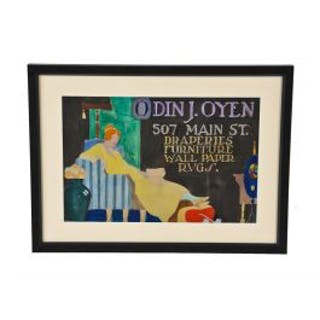 original early 20th century framed and matted odin j. oyen hand-painted