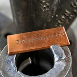 "early 20th century single-sided solid copper ""basement"" open switchboard"