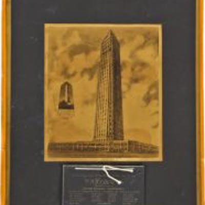original antique c.late 1920's framed plaque comprised of an architectural