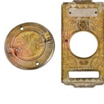 original intact c. 1920's american art deco style patented cast brass