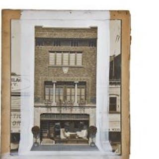 original 1912-15 altered gelatin silver print of odin j. oyen's newly-built