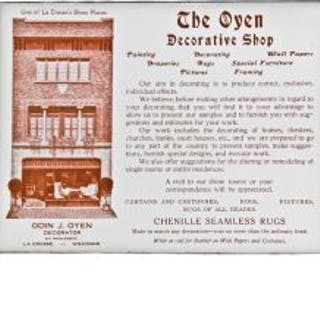 original c. 1915-25 odin j. oyen heavy cardstock advertising postcard