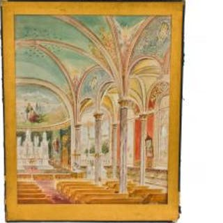 early 20th century mounted and signed oyen polychromatic watercolor