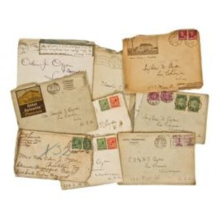 large lot of early 20th century mailed hand-written letters to and
