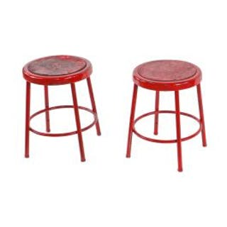 matching pair of original c. 1950's american industrial bright red