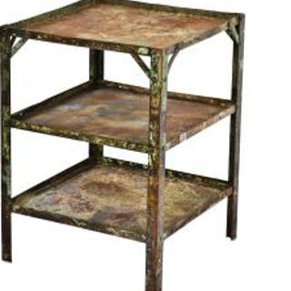 robust early 1940's american vintage industrial three-tier riveted