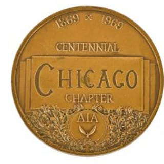 highly stylized original cast bronze double-sided 1869-1969 chicago