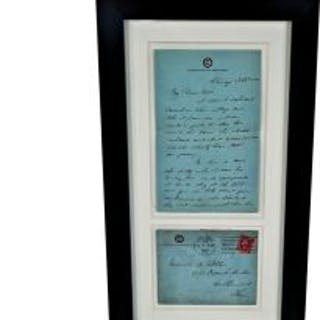 framed and matted c. 1911 hand-written letter with stationary and