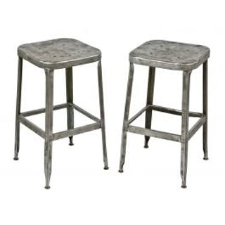 pair of matching refinished brushed metal c. 1950's salvaged chicago