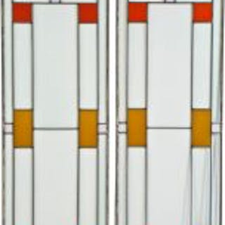 pair of original strongly geometric leaded glass windows with brightly