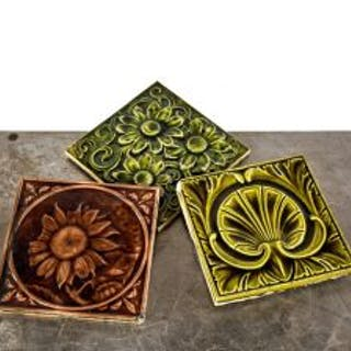 a collection of three richly colored 6x6 19th century antique american