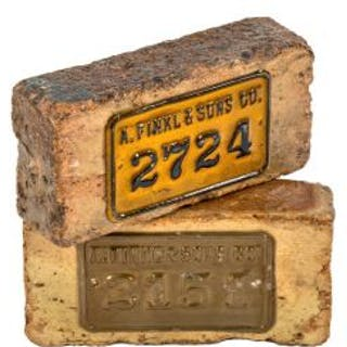 one of three original a. finkl & sons bricks with old inventory plaques
