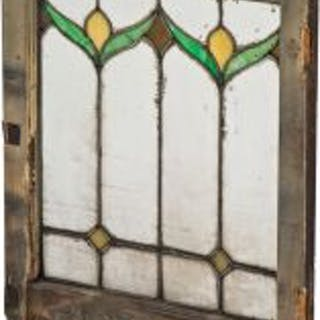 one of two matching interior residential antique american leaded art