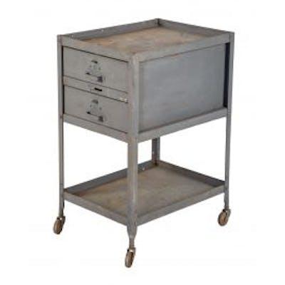 original c. 1940's american vintage industrial double-drawer mobile