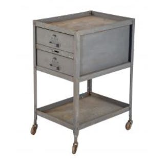 original c. 1940's american vintage industrial double-drawer mobile
