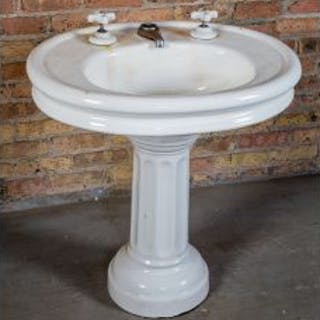 original early 20th century salvaged chicago white glazed vitreous
