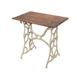 vintage american industrial repurposed metal and wood side table or