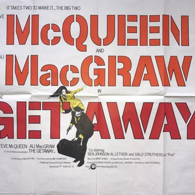Original The Getaway Movie Poster - Steve McQueen - Sam Peckinpah - Ali MacGraw