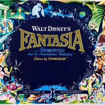 Original Fantasia Movie Poster Walt Disney Mickey Mouse Musical Barnebys