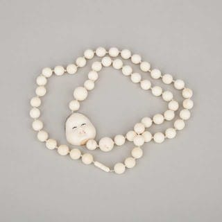 An Ivory Japanese Mask Beaded Necklace, Circa 1940 - 約1940年 日本象牙人面珠串