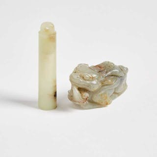 A Celadon and Russet Jade Official's Hat Tube and a Carved Beast -