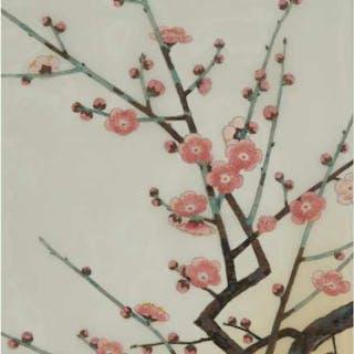 Nisaburō Itō (1905-2001), Pink Plum Blossoms - 伊藤仁三郎 (1905-2001) 紅梅 絹本 手揠木版畫 鏡框