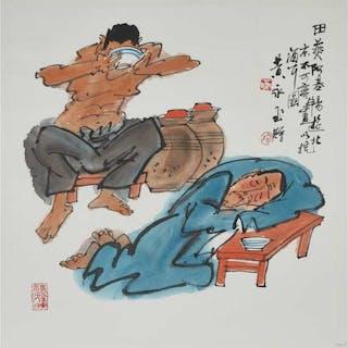 Huang Yongyu (1924-), Drinking  - 黃永玉(1924- ) 飲酒圖 設色紙本 鏡心