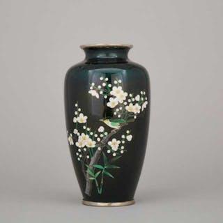 A Green Ground Cloisonné Vase - 綠地花鳥紋景泰藍瓶