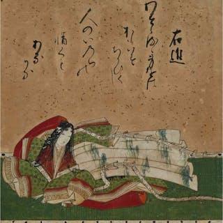 Japanese School, Lady Murasaki - 日本 紫式部像 設色金箔紙本 鏡框