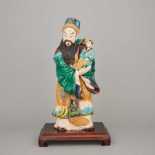 A Large Enameled Ceramic Figure of Fu God - 素三彩福星像帶座