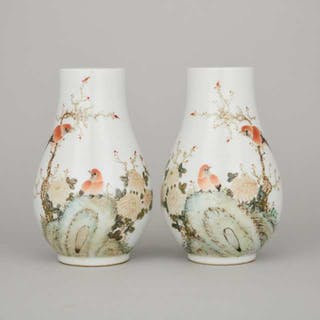 A Pair of Enameled 'Birds and Calligraphy' Vases, Signed Xu Dasheng