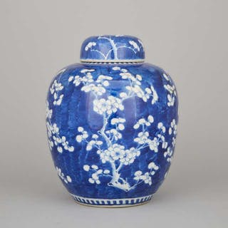 A Blue and White Prunus Ginger Jar and Cover, Late 19th/Early 20th