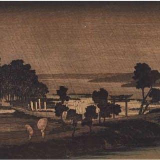 Three Prints After Hiroshige, Including 'Evening Rain at Azumi-no