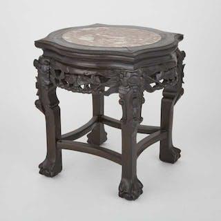 A Marble Inlaid Side Table, 20th Century - 二十世紀 嵌大理石束腰凳