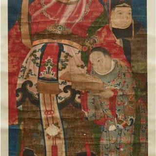 A Portrait of the Prosperity God Lu and Attendants, 18th/19th Century