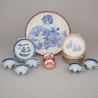 A Group of Twenty-One Japanese Kutani and Blue and White Porcelain