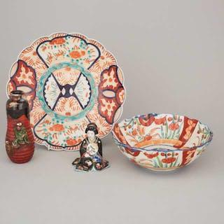 A Group of Four Japanese Ceramic Wares - 日本伊萬里燒盤碗 九谷燒藝伎擺件 隅田川葫蘆瓶一組四件