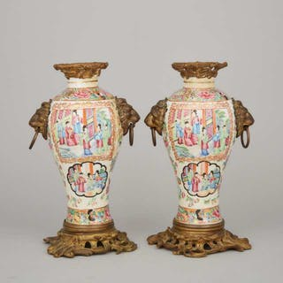 A Pair of Bronze Mounted Canton Famille Rose Vases, 19th Century -