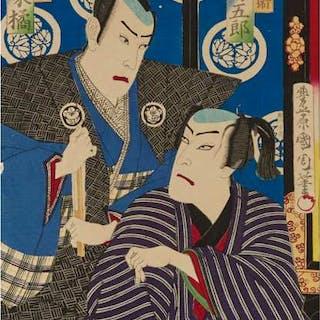 Toyohara Kunichika (1835-1900), Two Actor Woodblock Prints - 豊原 国周