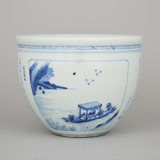 "A Blue and White 'Former Ode on the Red Cliffs' Planter - 青花""前赤壁賦""大缸"