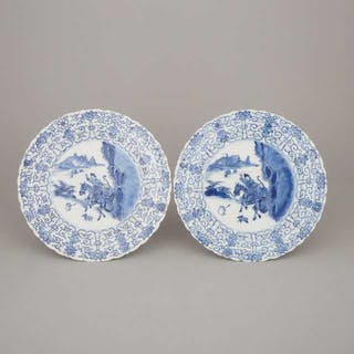 A Pair of Blue and White 'Joosje Ter Paard' Scalloped Rim Dishes