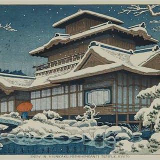Takeji Asano (1900-1998), Snow in Hiunkaku, Nishihonganji Temple