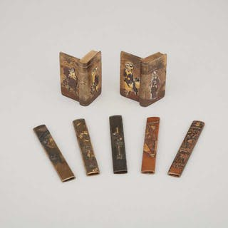 A Group of Seven Japanese Inlaid Mixed Metal Items, Meiji Period -