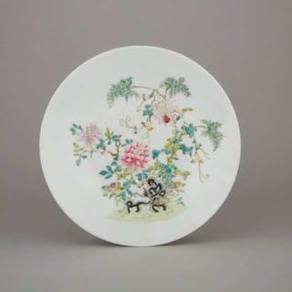 A Famille Rose 'Peony' Dish, Hongxian Mark, Republican Period - 民國時期 洪憲款 粉彩牡丹紋盤