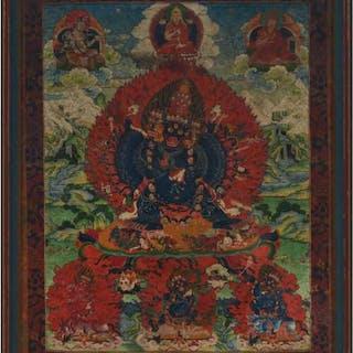 A Framed Thangka of Vajrabhairava, 17th Century - 十七世紀 怖畏金刚唐卡