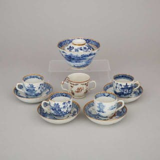 A Group of Nine Export Gilt Decorated Blue and White Porcelain Wares