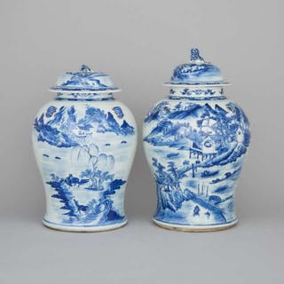 A Pair of Large Blue and White Lidded Temple Jars, 19th Century -